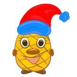 Εύθυμος ανανάς με ένα πρόσωπο παιδιών ` s σε ένα καπέλο Χριστουγέννων ελεύθερη απεικόνιση δικαιώματος