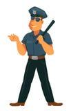 Εύθυμος αστυνομικός σε ομοιόμορφο με το λαστιχένιο ρόπαλο απεικόνιση αποθεμάτων
