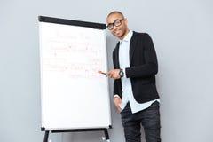 Εύθυμος αφρικανικός επιχειρηματίας χρησιμοποιώντας flipchart και δείχνοντας στο επιχειρηματικό σχέδιο Στοκ Φωτογραφίες
