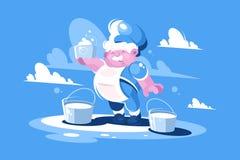 Εύθυμος γαλατάς με το γάλα κάδων Στοκ εικόνα με δικαίωμα ελεύθερης χρήσης