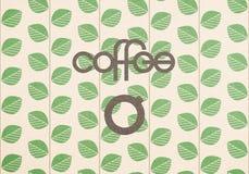Εύθυμος γράφοντας καφές με ένα απλό τυποποιημένο φλυτζάνι καφέ στο υπόβαθρο με τα τυποποιημένα φύλλα ελεύθερη απεικόνιση δικαιώματος