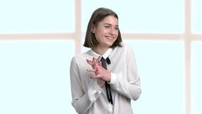 Εύθυμος θηλυκός εταιρικός, πορτρέτο απόθεμα βίντεο