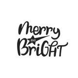 Εύθυμος και φωτεινός - συρμένη χέρι εγγραφή Χριστουγέννων Χαριτωμένη νέα φράση έτους επίσης corel σύρετε το διάνυσμα απεικόνισης ελεύθερη απεικόνιση δικαιώματος