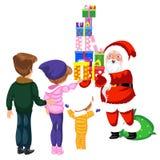Εύθυμος κύριος χαρακτήρας κινούμενων σχεδίων των Χριστουγέννων με τα δώρα απεικόνιση αποθεμάτων