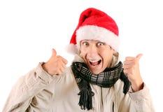 Εύθυμος νεαρός άνδρας στο καπέλο Santa Στοκ εικόνα με δικαίωμα ελεύθερης χρήσης