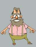 Εύθυμος παππούς κινούμενων σχεδίων με μια γενειάδα και mustache Στοκ φωτογραφία με δικαίωμα ελεύθερης χρήσης