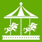 Εύθυμος πηγαίνετε γύρω από το εικονίδιο γύρου αλόγων πράσινο απεικόνιση αποθεμάτων