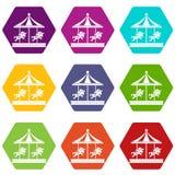 Εύθυμος πηγαίνετε γύρω από το καθορισμένο χρώμα εικονιδίων γύρου αλόγων hexahedron διανυσματική απεικόνιση