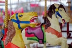 Εύθυμος-πηγαίνω-γύρω από παλαιά χρωματισμένα άλογα χρώματα ιπποδρομίων Στοκ Φωτογραφίες