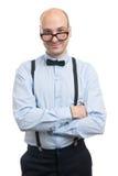 Εύθυμος τύπος με suspenders και τον τόξο-δεσμό Στοκ φωτογραφίες με δικαίωμα ελεύθερης χρήσης