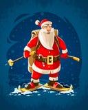 Εύθυμος χαρακτήρας κινουμένων σχεδίων Άγιου Βασίλη Χριστουγέννων διανυσματική απεικόνιση