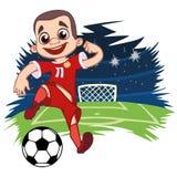Εύθυμο αγόρι sportswear στο ποδόσφαιρο παιχνιδιών διανυσματική απεικόνιση