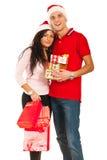 Εύθυμο ζεύγος Χριστουγέννων Στοκ εικόνα με δικαίωμα ελεύθερης χρήσης