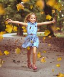 Εύθυμο μικρό κορίτσι σε ένα ζωηρόχρωμο πάρκο φθινοπώρου στοκ εικόνες