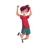 Εύθυμο μικρό παιδί που πηδά από την ευτυχία διανυσματική απεικόνιση