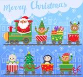 εύθυμο νέο έτος Χριστου&gamm Άγιος Βασίλης στο τραίνο με τα δώρα Στοκ φωτογραφία με δικαίωμα ελεύθερης χρήσης