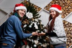 Εύθυμο πεύκο Χριστουγέννων ζευγαριού εξωραΐζοντας Στοκ Εικόνα