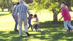 Εύθυμο πολυ οικογενειακό παίζοντας ποδόσφαιρο παραγωγής απόθεμα βίντεο