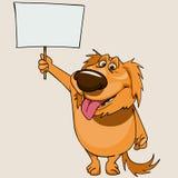 Εύθυμο σκυλί κινούμενων σχεδίων που στέκεται με ένα κενό έμβλημα Στοκ Εικόνες