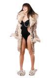 εύθυμο leopard παλτών που φορά τ&et στοκ εικόνες