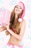 εύθυμο santa αρωγών κοριτσιών & Στοκ φωτογραφία με δικαίωμα ελεύθερης χρήσης