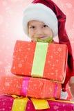 εύθυμο santa καπέλων Claus αγοριών Στοκ Φωτογραφία