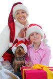 εύθυμο santa καπέλων Claus αγοριών Στοκ Φωτογραφίες