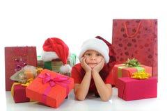 εύθυμο santa καπέλων Claus αγοριών Στοκ εικόνες με δικαίωμα ελεύθερης χρήσης