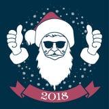 Εύθυμο santa Χριστουγέννων στα γυαλιά απεικόνιση αποθεμάτων