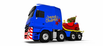 εύθυμο truck Χριστουγέννων Στοκ Εικόνες