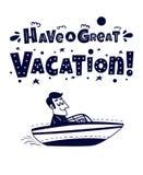 εύκολος επιμεληθείτε το εικονίδιο για να ταξιδεψετε Ευτυχές άτομο που ταξιδεύει με τη βάρκα Στοκ Εικόνα