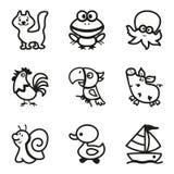Εύκολα χρωματίζοντας σχέδια του συνόλου εικονιδίων ζώων Στοκ Εικόνες