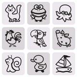 Εύκολα χρωματίζοντας σχέδια των ζώων για τα παιδάκια Σύνολο εικονιδίων Στοκ Φωτογραφίες
