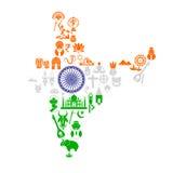 Ινδικός χάρτης με το πολιτιστικό αντικείμενο διανυσματική απεικόνιση