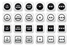 Εύκολο, μέσο, σκληρό επίπεδο με τα κουμπιά αστεριών καθορισμένα Στοκ Εικόνες