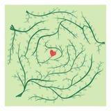 Εύρεση της πορείας του γρίφου λαβυρίνθου αγάπης Στοκ Εικόνες