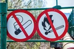 Εύφλεκτα υλικά προειδοποιητικά σημάδια Στοκ εικόνες με δικαίωμα ελεύθερης χρήσης