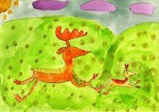 Ελάφια και το τρέξιμο μωρών ελαφιών του Στοκ Εικόνες