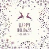 Ελάφια και snowflakes Στοκ Εικόνα