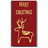 Ελάφια καρτών Χριστουγέννων Στοκ Φωτογραφία