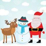 Ελάφια, χιονάνθρωπος και Άγιος Βασίλης Χριστουγέννων Στοκ εικόνα με δικαίωμα ελεύθερης χρήσης
