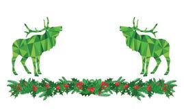 Ελάφια Χριστουγέννων στον ελαιόπρινο Στοκ Εικόνες