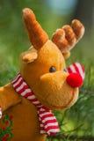Ελάφια Χριστουγέννων στον κλάδο έλατου για τη διακόσμηση Στοκ Εικόνα