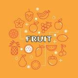 Ελάχιστα εικονίδια περιλήψεων φρούτων Στοκ εικόνα με δικαίωμα ελεύθερης χρήσης