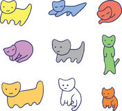 Ελάχιστα ζωηρόχρωμα αστεία γατάκια Στοκ φωτογραφίες με δικαίωμα ελεύθερης χρήσης