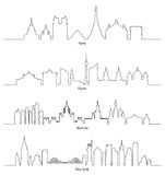 Ελάχιστος γραμμικός ορίζοντας Παρίσι, Βερολίνο, Μόσχα και Νέα Υόρκη Στοκ Εικόνες