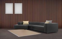 Ελάχιστος μαύρος καναπές Desing καθιστικών και πλαίσιο εικόνων δύο Στοκ Εικόνα