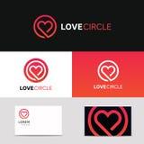 Ελάχιστο καθαρό σημάδι λογότυπων αγάπης εικονιδίων καρδιών με τη επαγγελματική κάρτα εμπορικών σημάτων Στοκ φωτογραφίες με δικαίωμα ελεύθερης χρήσης