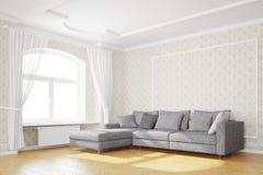 Ελάχιστο καθιστικό με τον καναπέ Στοκ φωτογραφία με δικαίωμα ελεύθερης χρήσης