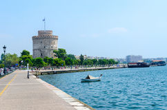 Ελλάδα, Θεσσαλονίκη, άσπρος πύργος στην προκυμαία στοκ φωτογραφία